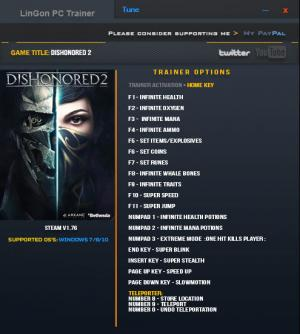 Dishonored 2 Trainer +18 v1.76 {LinGon}