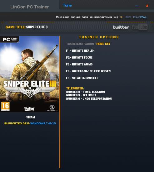 Sniper Elite 3 Trainer +7 V1.15a Updated 16 Jan 2017