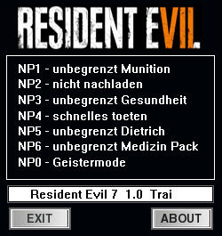 Resident Evil 7: Biohazard Trainer for PC game version 1.0