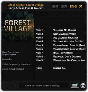 Life is Feudal: Forest Village Trainer for PC game version Early Access Updated 31.12.2016