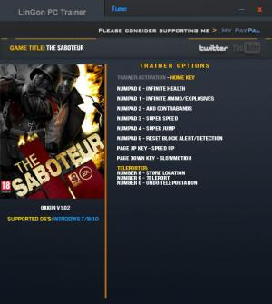 The Saboteur Trainer +10 v1.02 {LinGon}
