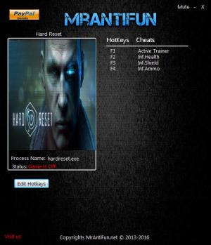 Hard Reset Trainer for PC game version 12.29.2016