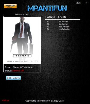 Hitman 2016 Trainer for PC game version 1.8.0B