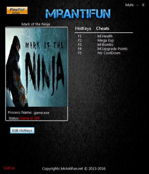 Mark of the Ninja Trainer for PC game version 01.10.2017