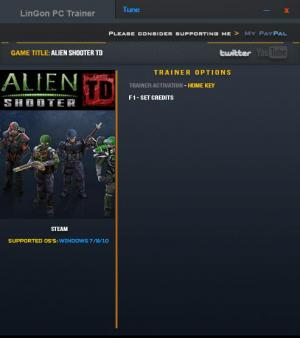 Alien Shooter TD Trainer for PC game version 16.01.2017
