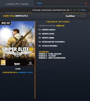 Sniper Elite 3 Trainer +7 v1.15a Updated 16 Jan 2017 {LinGon}