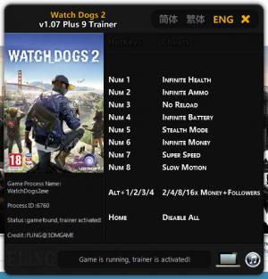Watch Dogs 2 Trainer +9 v1.07 {FLiNG}