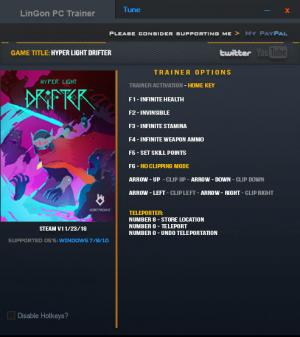 Hyper Light Drifter Trainer +8 v1.01 {LinGon}