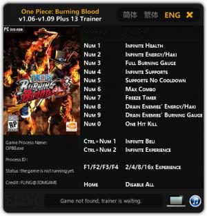 One Piece: Burning Blood Trainer +13 v1.06 - 1.09 {FLiNG}