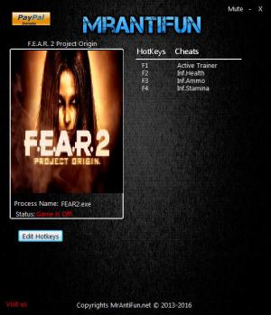 F.E.A.R. 2: Project Origin Trainer +3 v1.5.0c {MrAntiFun}
