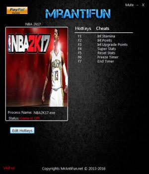 NBA 2K17 Trainer +7 v1.06 {MrAntiFun}