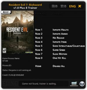 Resident Evil 7: Biohazard Trainer for PC game version 1.00