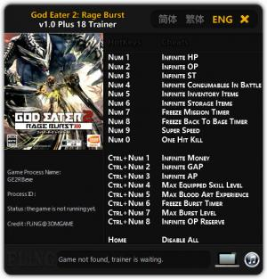 God Eater 2: Rage Burst Trainer +18 v1.0 {FLiNG}