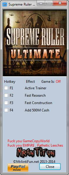 Supreme Ruler Ultimate Trainer +3 v9.0.75 {MrAntiFun}