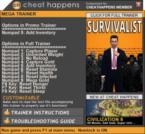 Survivalist Trainer +12 v62.3 (Cheat Happens)