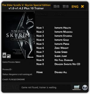 The Elder Scrolls 5: Skyrim Special Edition Trainer +10 v1.0 - 1.4.2 {FLiNG}