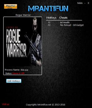 Rogue Warrior Trainer +3 v30.01.2017 {MrAntiFun}