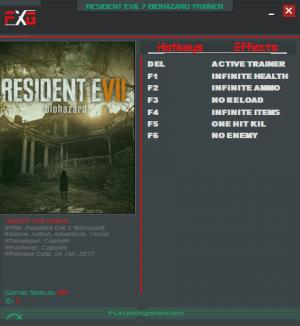 Resident Evil 7: Biohazard Trainer for PC game version 1.01