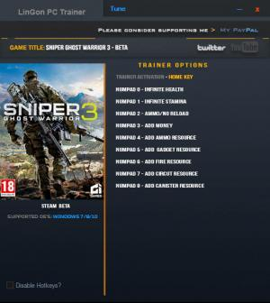 Sniper: Ghost Warrior 3 Trainer +9 Beta {LinGon}