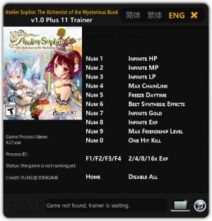 Atelier Sophie: The Alchemist of the Mysterious Book Trainer Trainer +11 v1.0 {FLiNG}