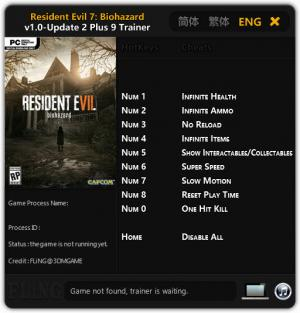 Resident Evil 7: Biohazard Trainer for PC game version 1.00 Update 2