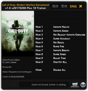 Call of Duty 4: Modern Warfare Remastered Trainer +10 v1.0 Update 08.02.2017 {FLiNG}