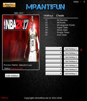 NBA 2K17 Trainer +7 v1.08 {MrAntiFun}