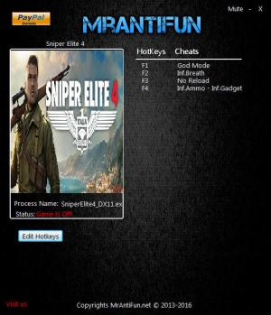 Sniper Elite 4 Trainer for PC game version 1.00