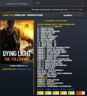 Dying Light: The Following - Enhanced Edition Trainer +35 v1.12.1 {LinGon}