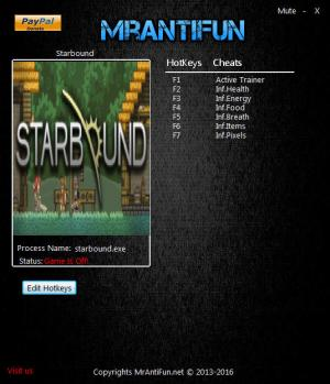 Starbound Trainer +6 v1.2.2 64bit {MrAntiFun}