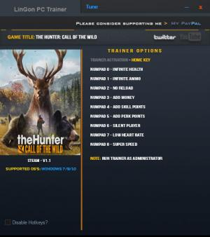 theHunter: Call of the Wild Trainer +9 v1.01 Updated 22 Feb 2017 {LinGon}