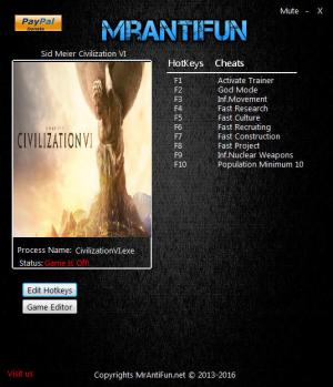 Sid Meier's Civilization 6 Trainer for PC game version 1.0.0.110
