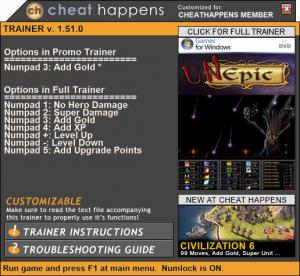 UnEpic Trainer +7 v1.51.0 (Cheat Happens)
