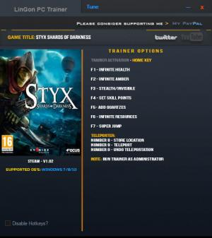 Styx: Shards of Darkness Trainer +9 v1.02 64bit {LinGon}
