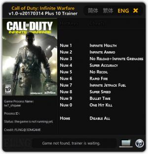 Call of Duty: Infinite Warfare Trainer for PC game version 1.0 Update 2017.03.14