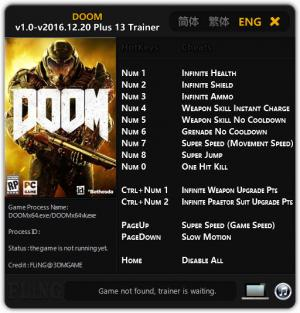 Doom 2016 Trainer +13 v1.0 - Update 2016.12.20 {FLiNG}