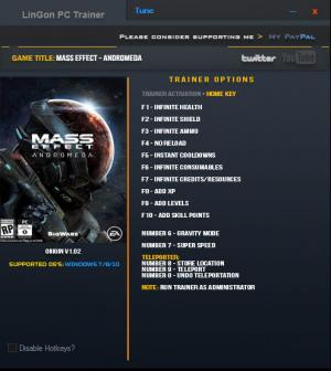 Mass Effect: Andromeda Trainer +14 Update 1 {LinGon}