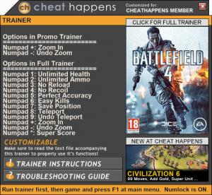 Battlefield 4 Trainer +12 v03.21.2017 32bit  (Cheat Happens)