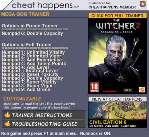 The Witcher 2: Assassins of Kings Enhanced Edition Trainer +11 v3.5.0.26 A (Cheat Happens)