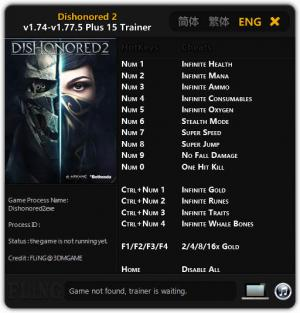 Dishonored 2 Trainer for PC game version 1.74 - 1.77.5