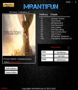 Sid Meier's Civilization 6 Trainer for PC game version 1.0.0.129