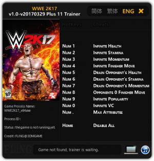 WWE 2K17 Trainer +11 v1.0 - Update 29.03.2017 {FLiNG}
