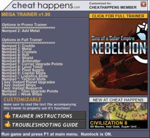 Sins of a Solar Empire: Rebellion Trainer +17 v1.90 (Cheat Happens)