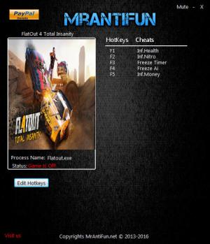 FlatOut 4: Total Insanity Trainer for PC game version 1.00