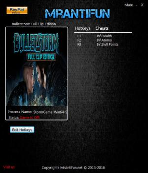 Bulletstorm: Full Clip Edition Trainer for PC game version 1.00