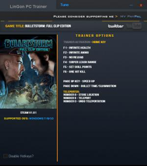 Bulletstorm: Full Clip Edition Trainer for PC game version 1.01