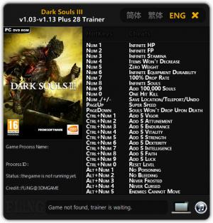 Dark Souls 3 Trainer for PC game version 1.03 - 1.13