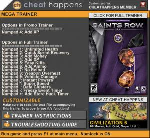 Saints Row 4 Trainer +14 Patch 04.18.2017 (Cheat Happens)