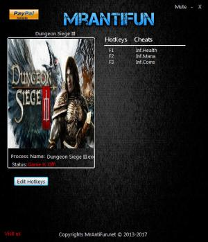 Dungeon Siege 3 Trainer for PC game version 04.18.2017