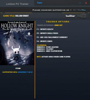 Hollow Knight Trainer +9 v1.0.2.8 {LinGon}